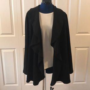 Black soft falling front ruffled blazer